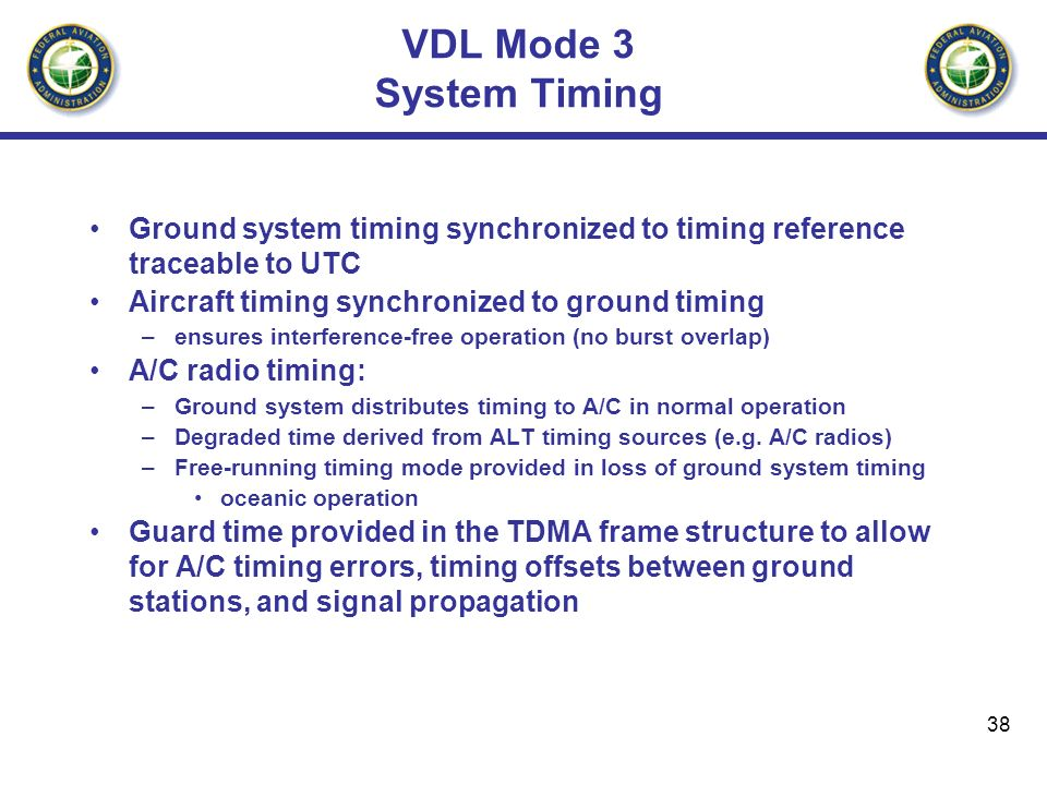 VDL Mode 3 System TimingGround system timing synchronized to timing reference traceable to UTC. Aircraft timing synchronized to ground timing.