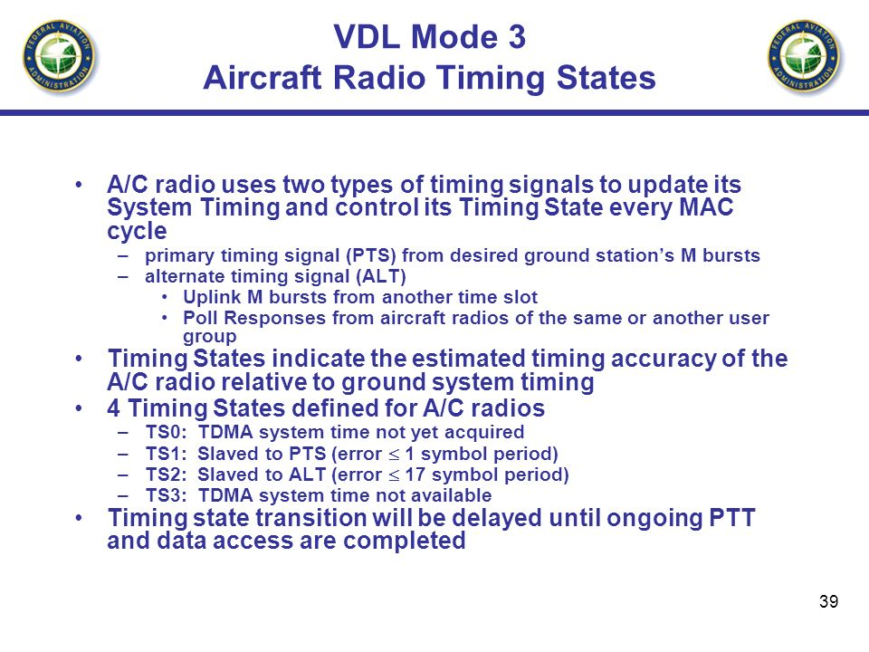 VDL Mode 3 Aircraft Radio Timing States