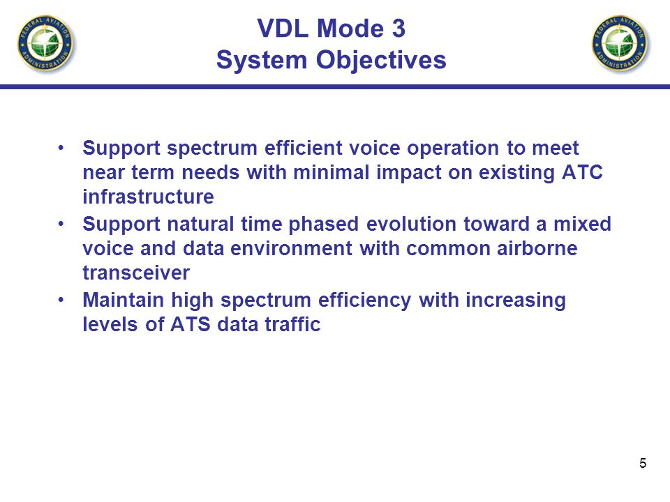 VDL Mode 3 System Objectives