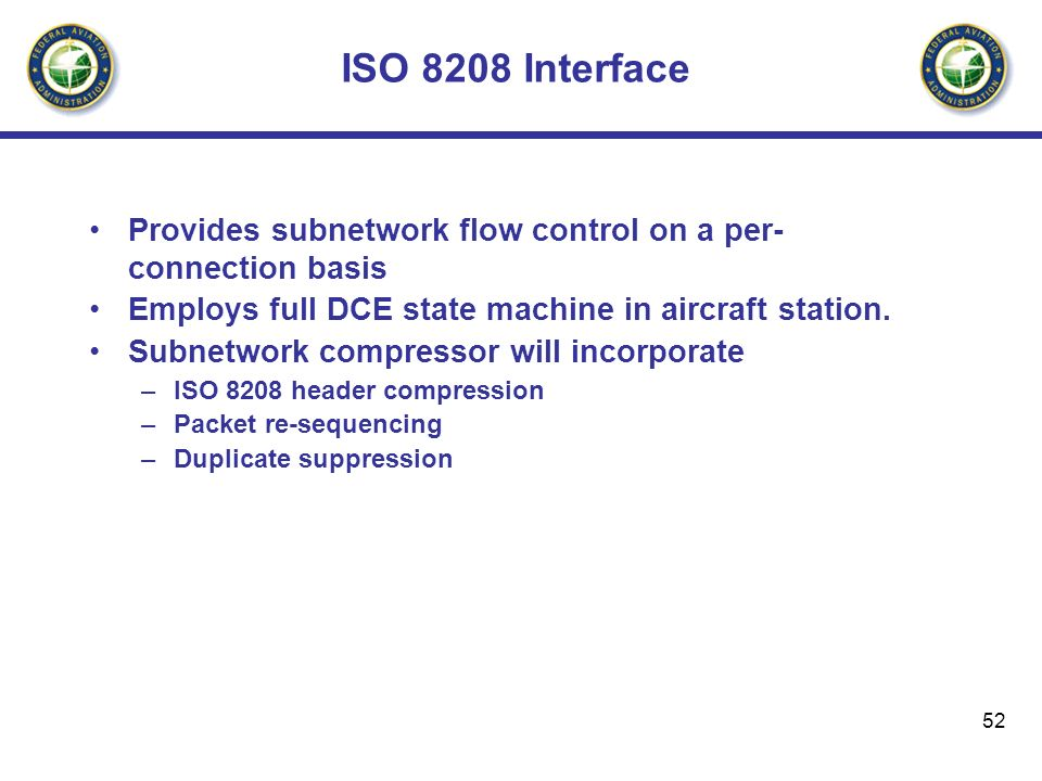 ISO 8208 Interface Provides subnetwork flow control on a per-connection basis. Employs full DCE state machine in aircraft station.