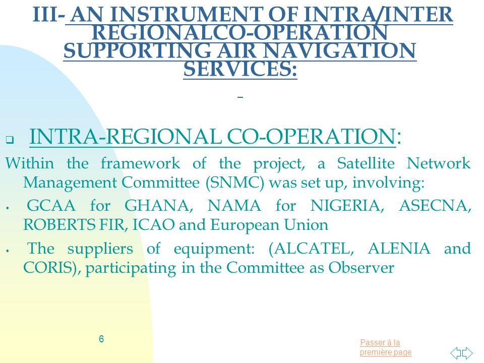 INTRA-REGIONAL CO-OPERATION: