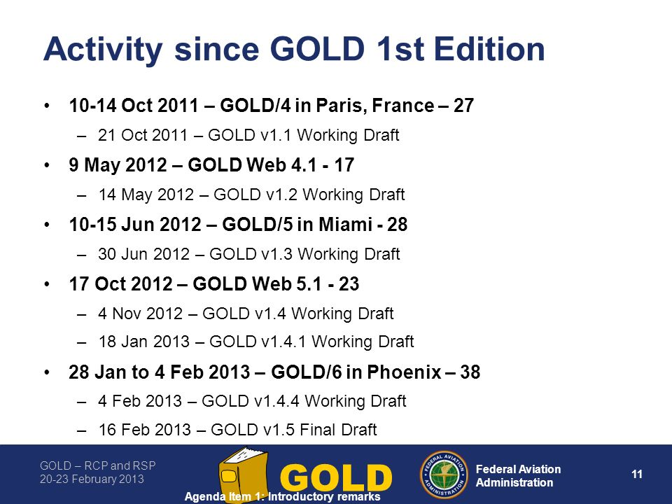 Activity since GOLD 1st Edition
