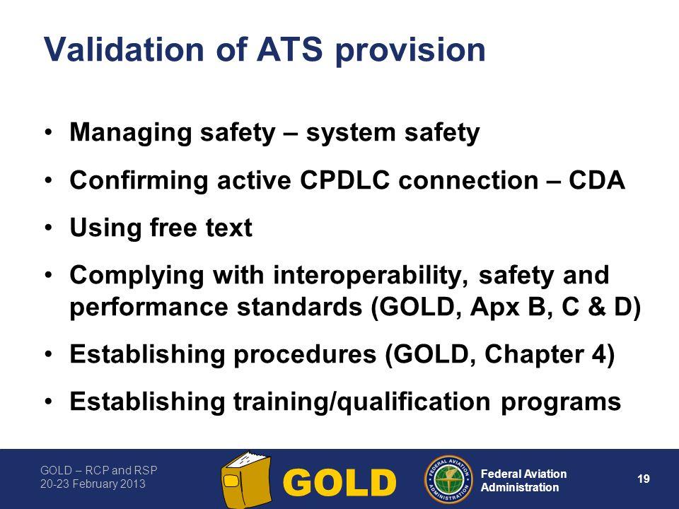 Validation of ATS provision
