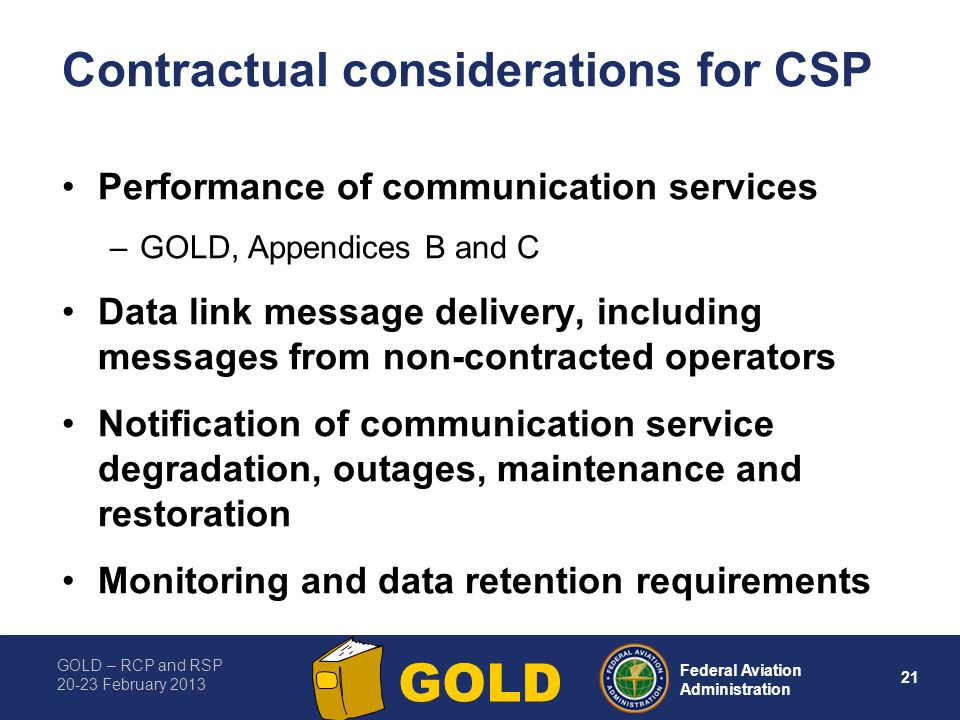 Contractual considerations for CSP