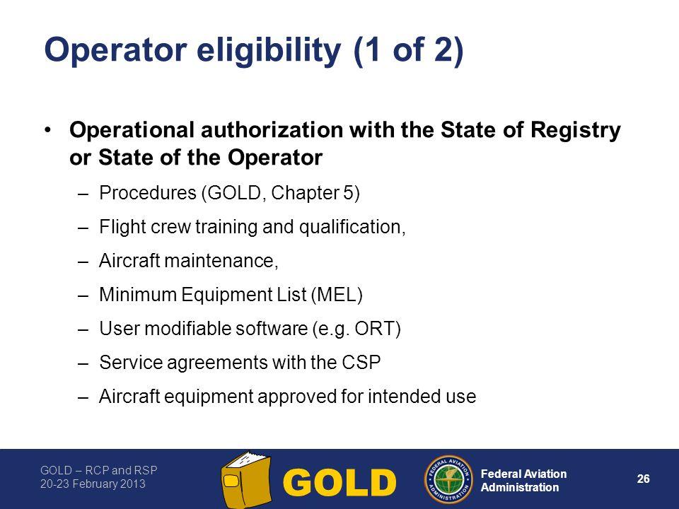 Operator eligibility (1 of 2)