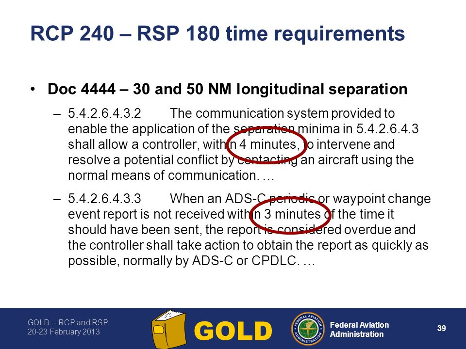 RCP 240 – RSP 180 time requirements