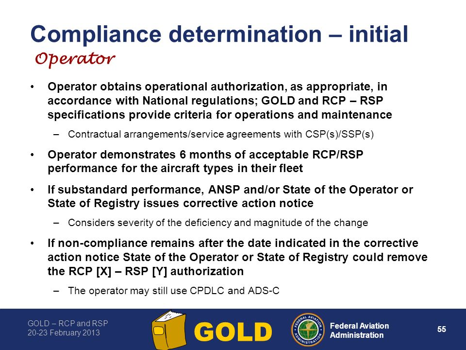 Compliance determination – initial