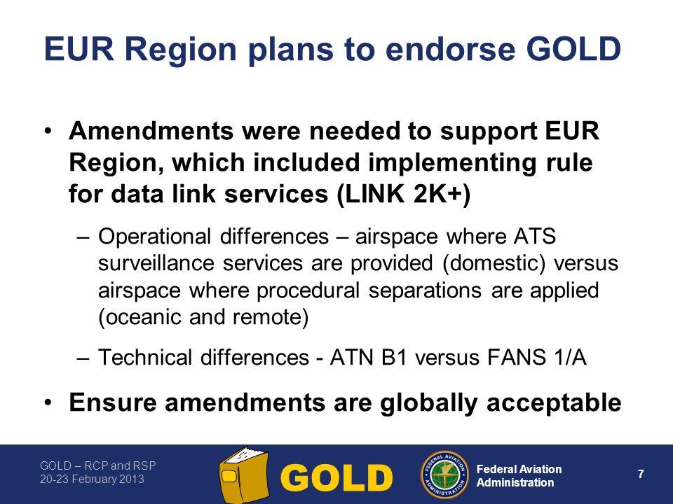 EUR Region plans to endorse GOLD