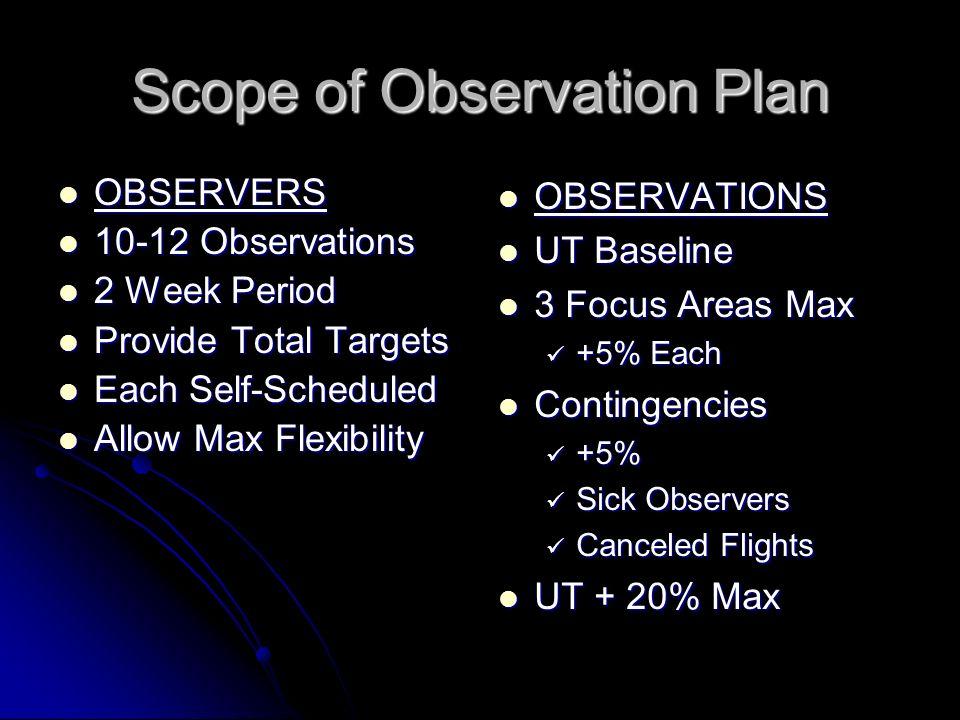 Scope of Observation Plan