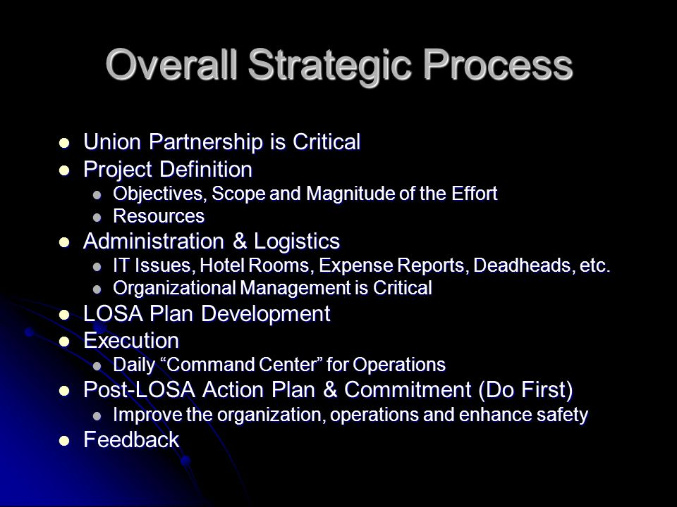 Overall Strategic Process