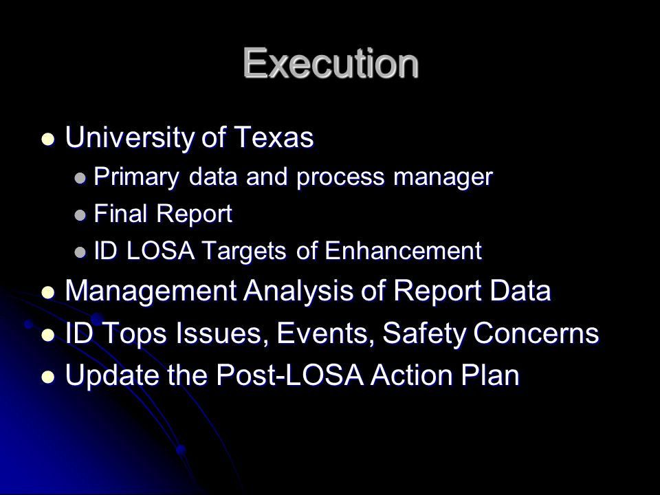 Execution University of Texas Management Analysis of Report Data