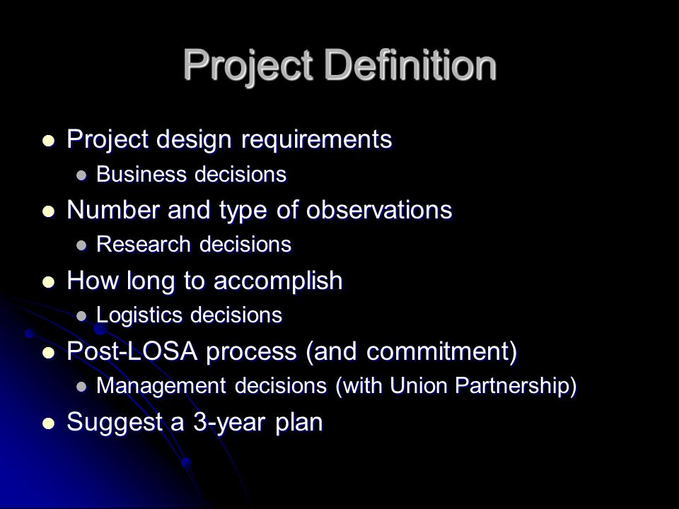 Project Definition Project design requirements