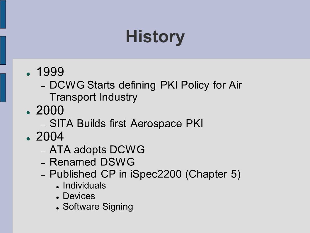 History 1999. DCWG Starts defining PKI Policy for Air Transport Industry. 2000. SITA Builds first Aerospace PKI.