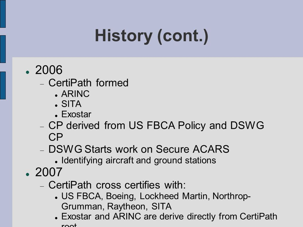 History (cont.) 2006 2007 CertiPath formed