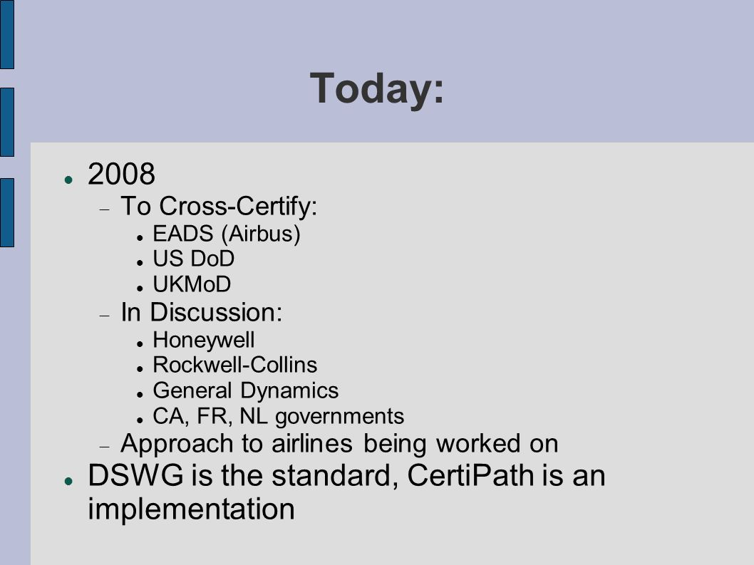 Today: 2008 DSWG is the standard, CertiPath is an implementation