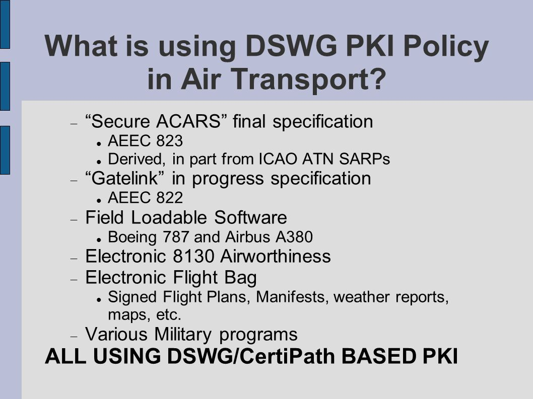 What is using DSWG PKI Policy in Air Transport