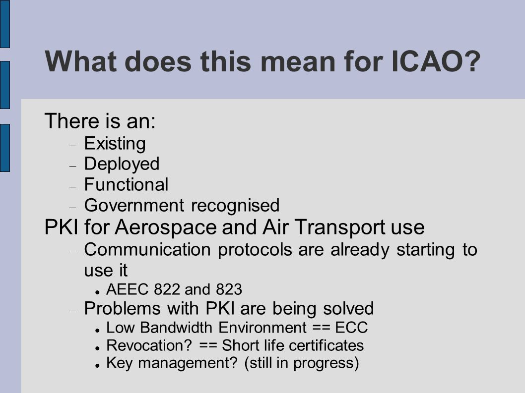 What does this mean for ICAO