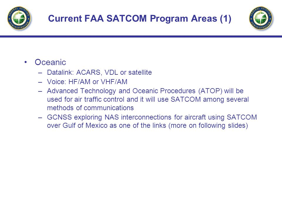 Current FAA SATCOM Program Areas (1)
