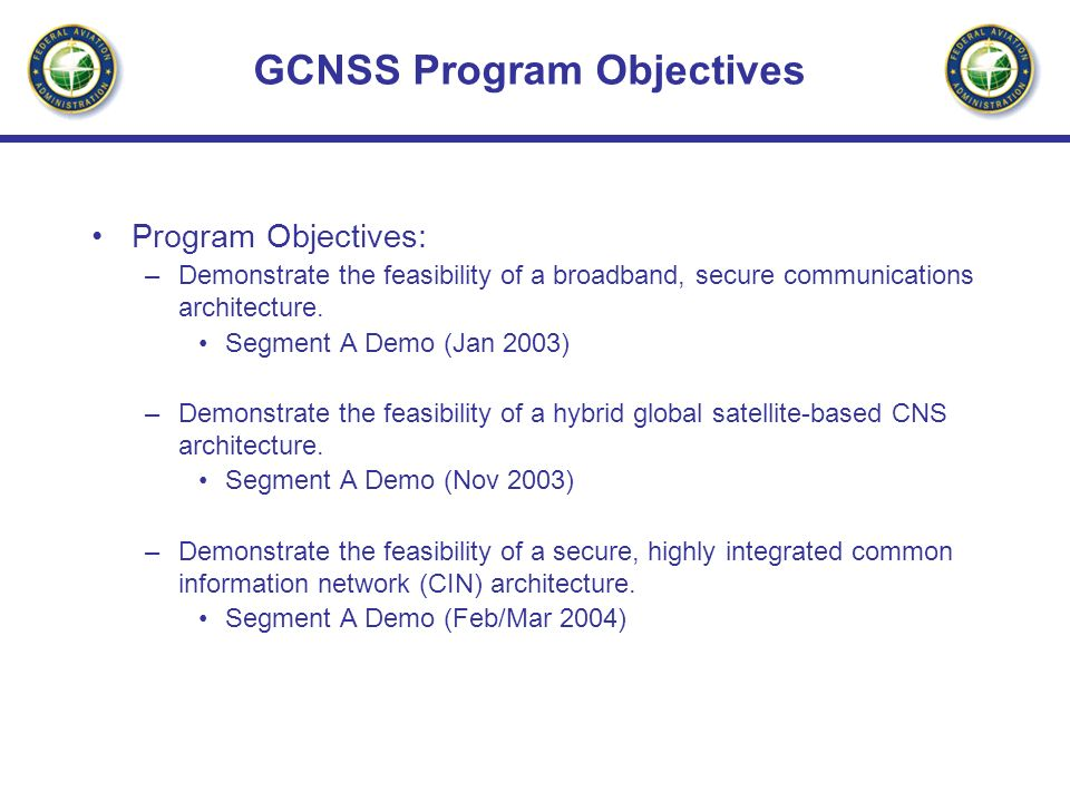 GCNSS Program Objectives