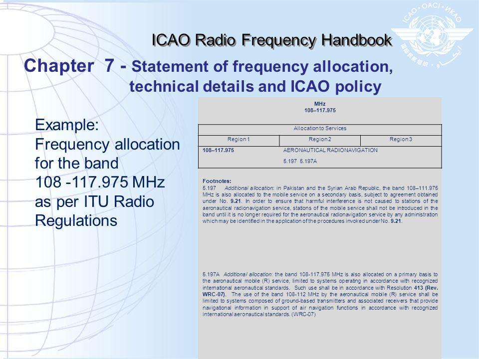 Chapter 7 - Statement of frequency allocation,