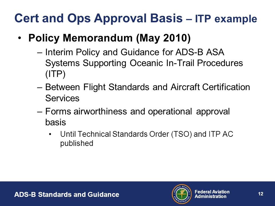Cert and Ops Approval Basis – ITP example