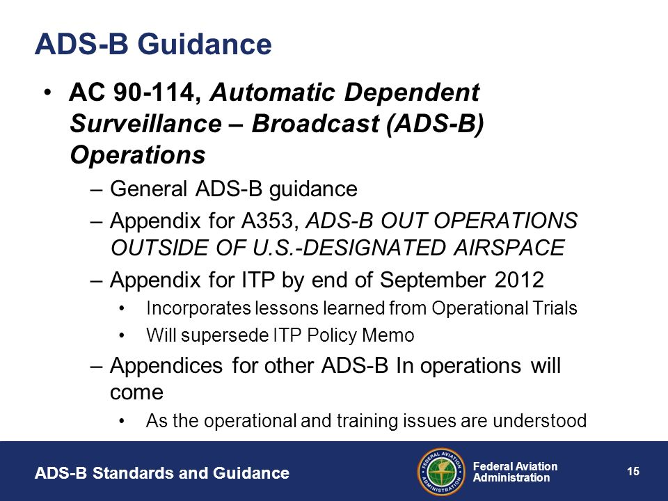 ADS-B Guidance AC 90-114, Automatic Dependent Surveillance – Broadcast (ADS-B) Operations. General ADS-B guidance.