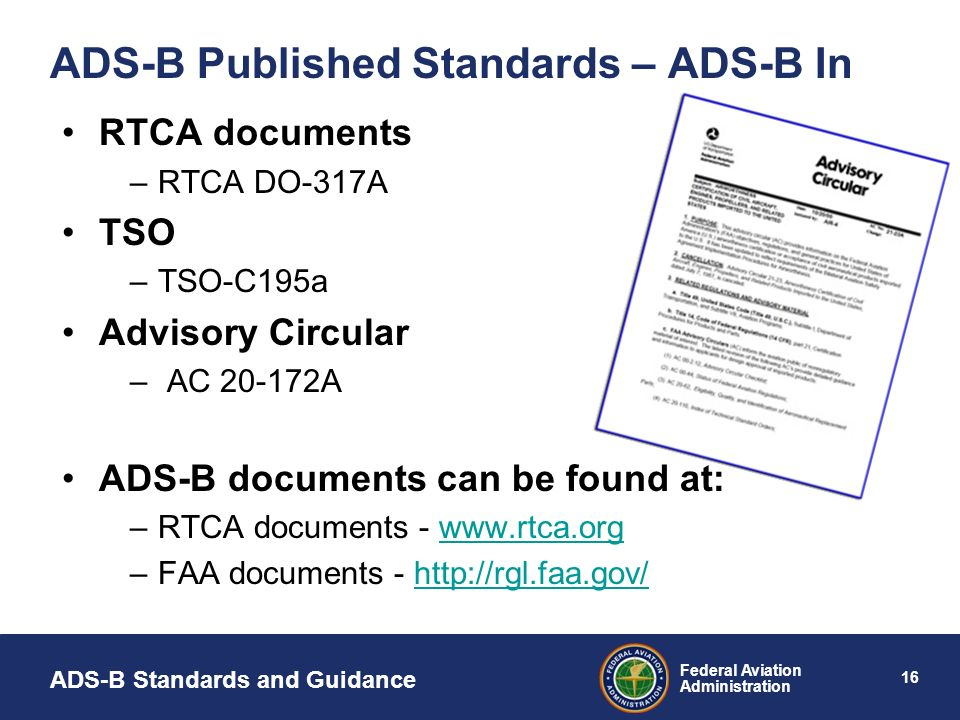 ADS-B Published Standards – ADS-B In