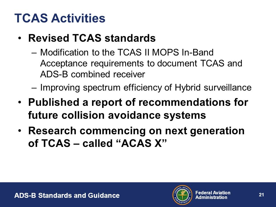 TCAS Activities Revised TCAS standards