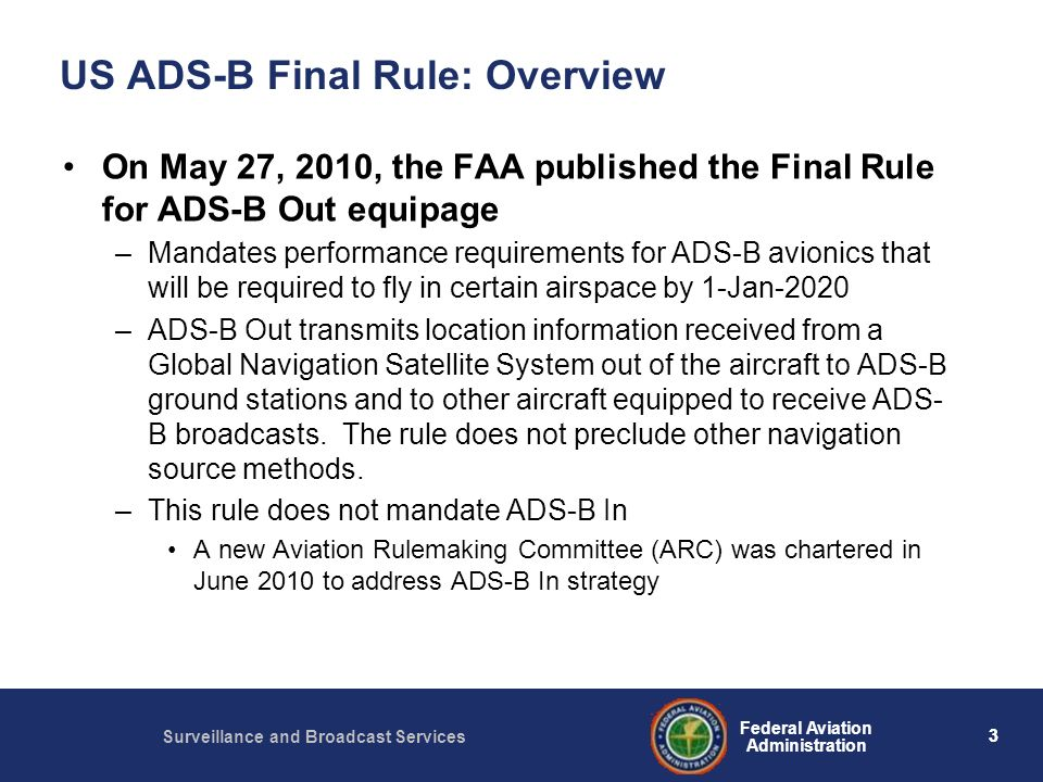 US ADS-B Final Rule: Overview