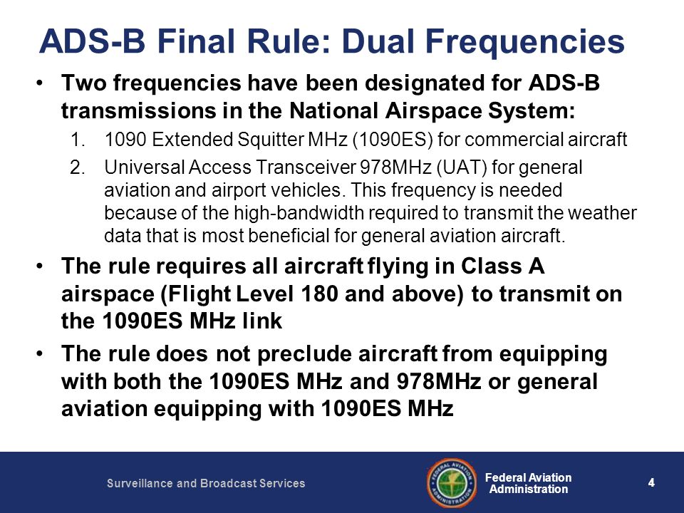 ADS-B Final Rule: Dual Frequencies