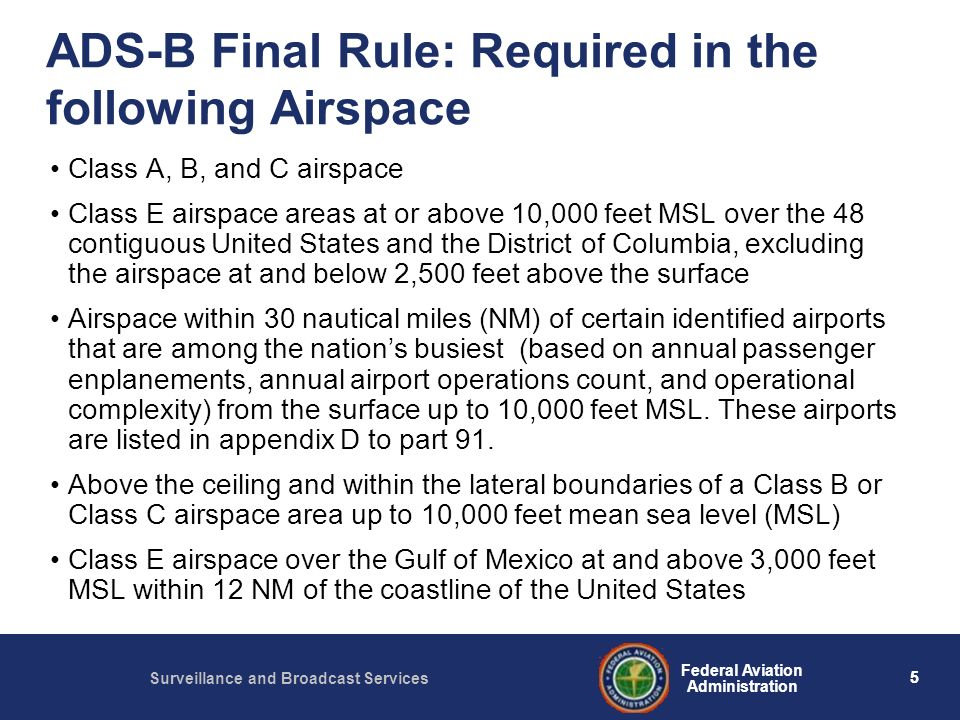 ADS-B Final Rule: Required in the following Airspace