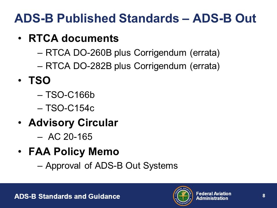 ADS-B Published Standards – ADS-B Out