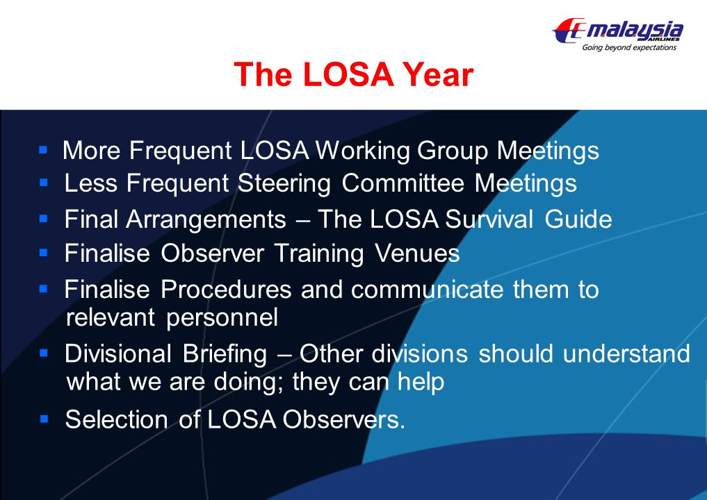 The LOSA Year More Frequent LOSA Working Group Meetings
