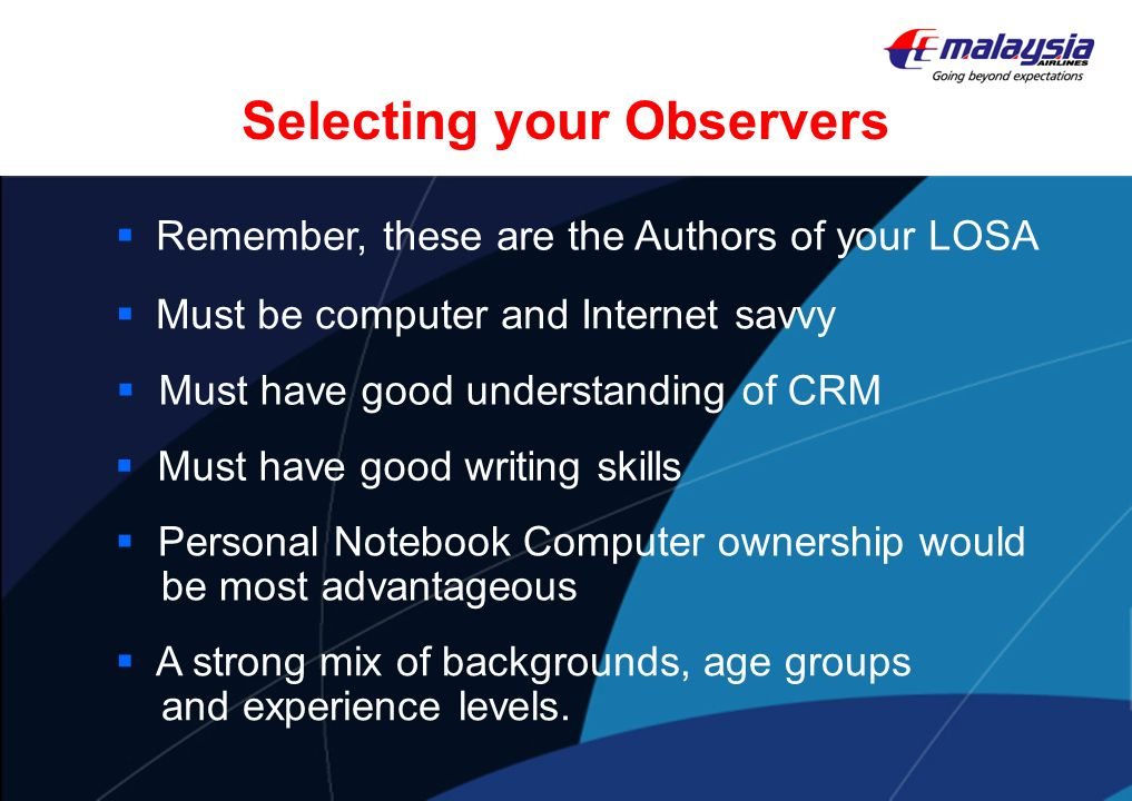 Selecting your Observers