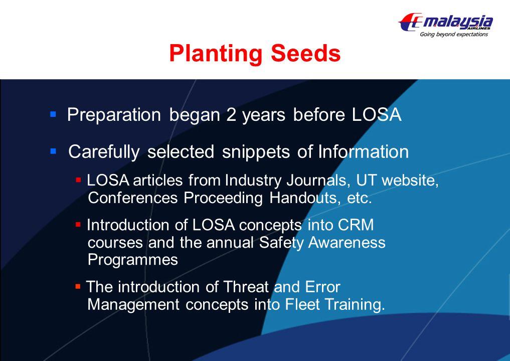 Planting Seeds Preparation began 2 years before LOSA