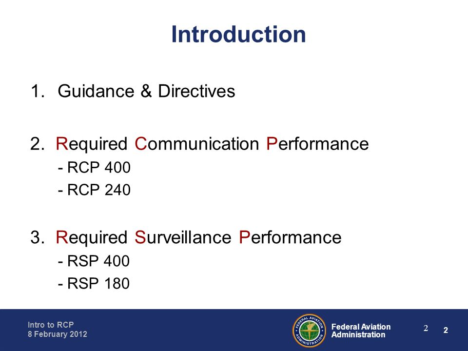 Introduction Guidance & Directives