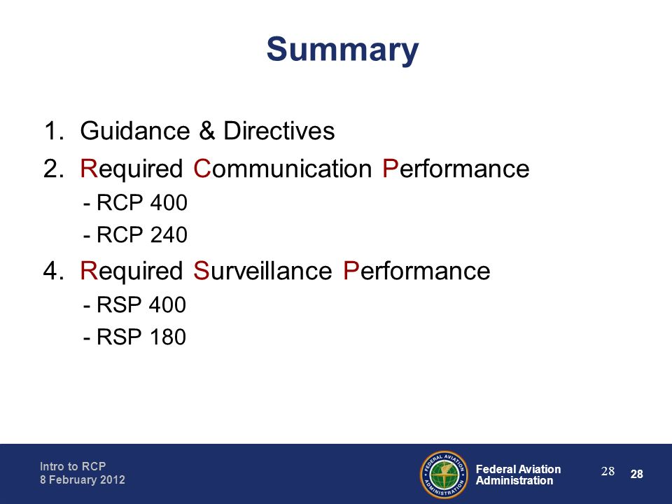 Summary 1. Guidance & Directives 2. Required Communication Performance