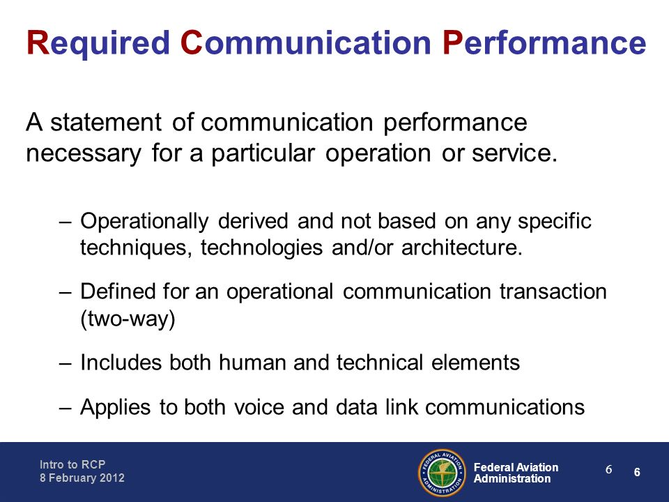 Required Communication Performance