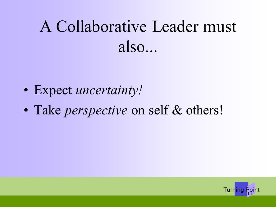 A Collaborative Leader must also...