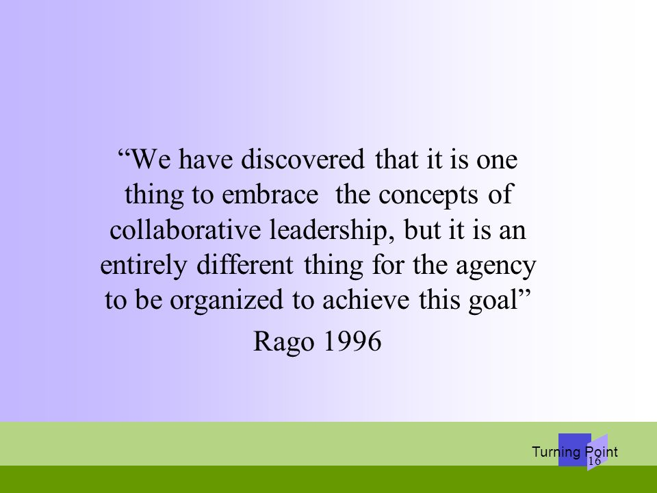 We have discovered that it is one thing to embrace the concepts of collaborative leadership, but it is an entirely different thing for the agency to be organized to achieve this goal