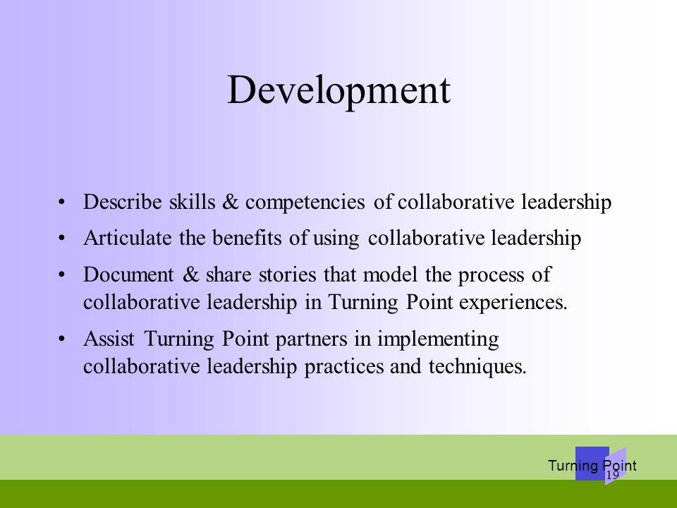 Development Describe skills & competencies of collaborative leadership