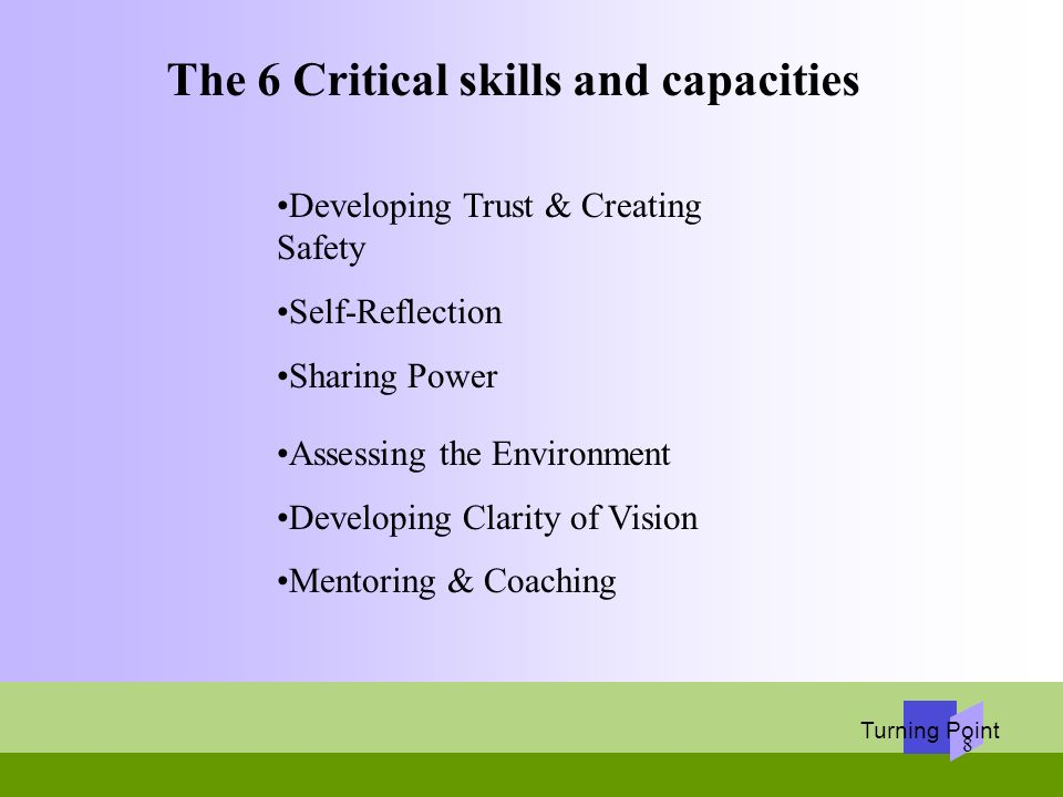 The 6 Critical skills and capacities