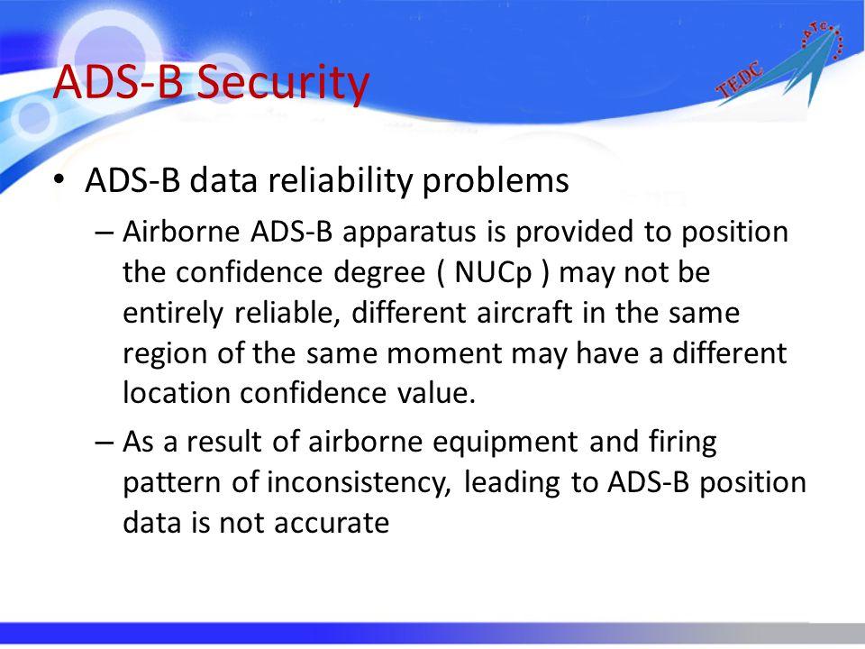 ADS-B Security ADS-B data reliability problems