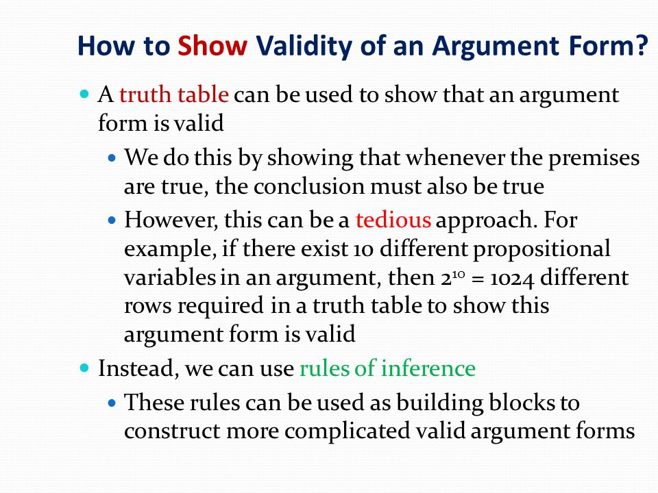 How to Show Validity of an Argument Form