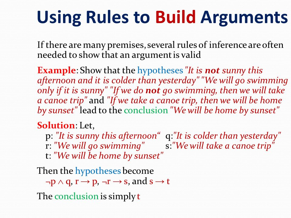 Using Rules to Build Arguments