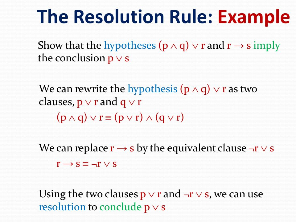 The Resolution Rule: Example