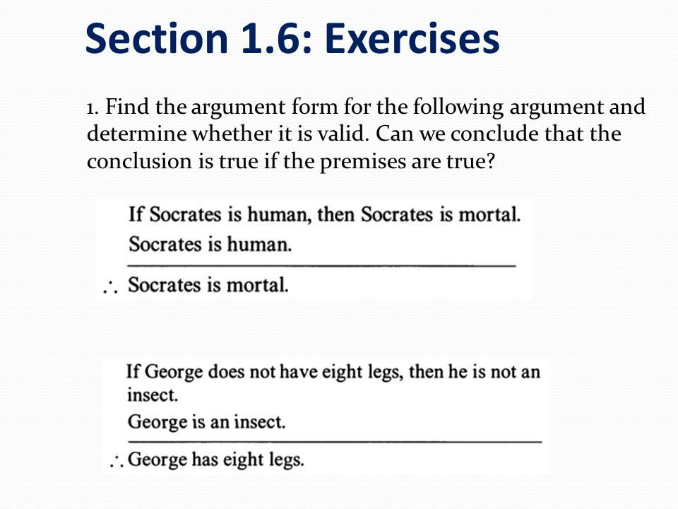 Section 1.6: Exercises
