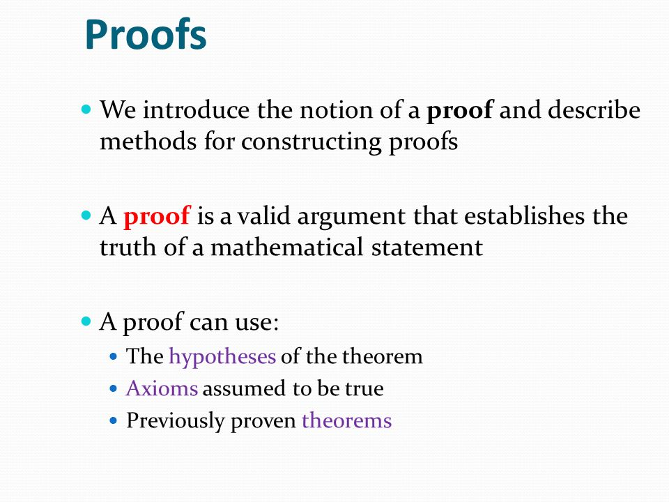 Proofs We introduce the notion of a proof and describe methods for constructing proofs.