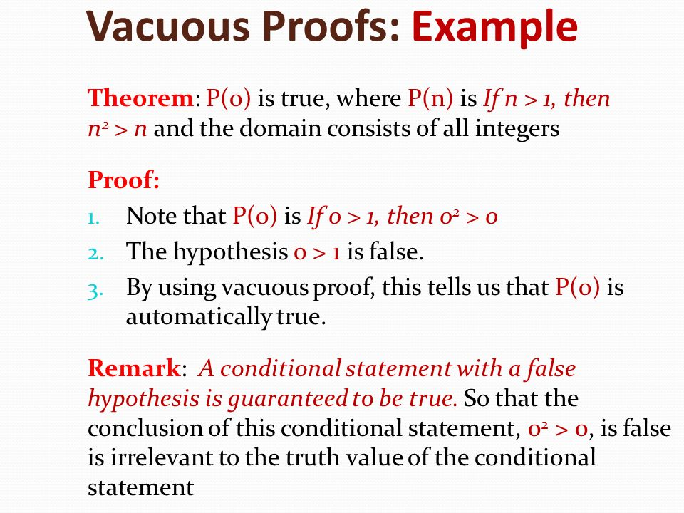 Vacuous Proofs: Example