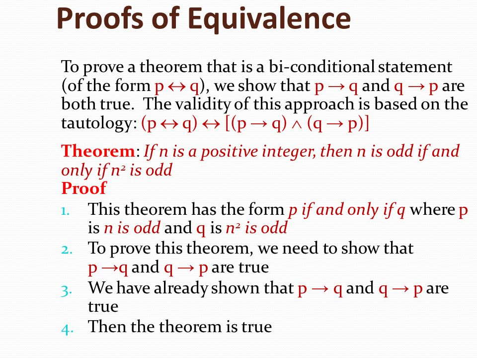Proofs of Equivalence